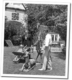 Walt Disney and General Salvage Chief for California Joseph F. MacCaughtry collecting metal lawn ornaments off Disney's lawn for war effort, August 14, 1942